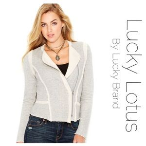 Lucky lotus by Lucky Brand raw edge Moto Zip Up